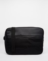 Asos Messenger Bag In Black Faux Leather With Mesh Pocket Black