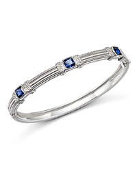 Judith Ripka Sterling Silver Three Cushion Stone Bangle With Blue Corundum Blue Silver