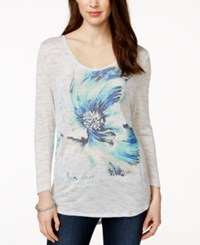 Lucky Brand Long Sleeve Floral Graphic T Shirt Light Grey