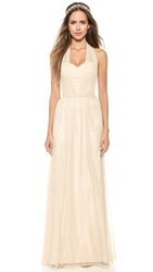 Joanna August Sammy Long Lace Converitble Dress Champagne