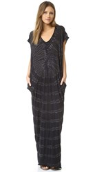Raquel Allegra Short Sleeve Caftan Dress Black Tie Dye