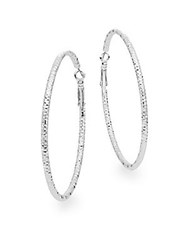 Saks Fifth Avenue Large Hammered Hoop Earrings Silverplated