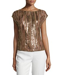 Escada Embellished Cap Sleeve Top Noisette