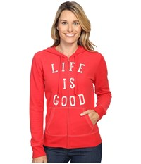 Life Is Good Lig Go To Zip Hoodie Simply Red Women's Sweatshirt