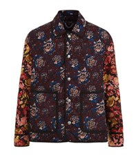Burberry Runway Floral Print Quilted Jacket Male Burgundy