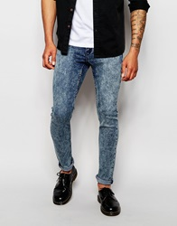 Cheap Monday Jeans Tight Skinny Fit Zine Blue Acid Wash Zineblue