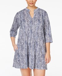 Dkny Plus Size Draped Sleepshirt White Blue Stripe