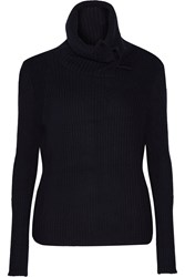 Autumn Cashmere Ribbed Knit Turtleneck Sweater Blue