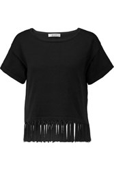 Milly Tasseled Cotton Blend Top Black