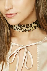 Forever 21 Faux Fur Leopard Print Choker Brown Multi