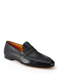 Saks Fifth Avenue By Magnanni Tumbled Leather Penny Loafers Grey Black