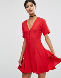 Asos Tea Dress With Rouleau Buttons And Layered Skirt Red