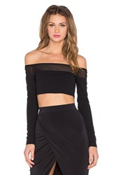 Rise Higher Up Off The Shoulder Crop Top Black