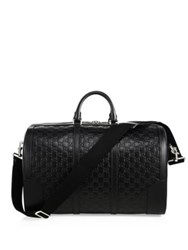 Gucci Embossed Leather Duffel Bag Black