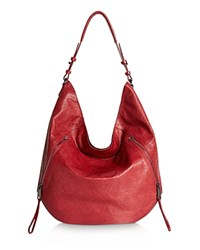 Halston Heritage Medium Elsa Embossed Zip Hobo Carmine Gunmetal