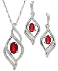 Macy's Ruby 1 1 3 Ct. T.W. And Diamond Accent Pendant Necklace And Matching Earrings Set In Sterling Silver