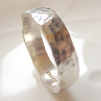 Catherine Marche Jedeco 8Mm Wide Hammered Ring For Men Sterling Silver