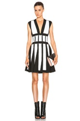Givenchy Contrast Panel Stud Dress In Black White Stripes