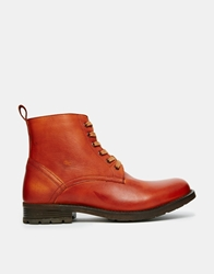 Frank Wright Leather Boots With Faux Shearling Brown