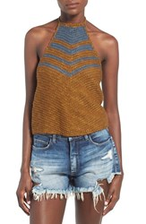 Women's Astr 'Veronica' Crochet Halter Top