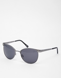 Asos Clubmaster Sunglasses In Black With Metal Frame
