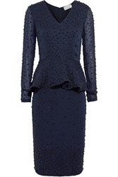 Mikael Aghal Embellished Chiffon Peplum Dress Blue