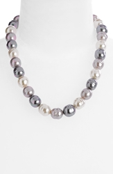 Majorica 14Mm Baroque Pearl Necklace Grey Silver