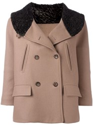 Alberto Biani Fur Effect Collar Peacoat Brown
