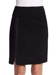 Donna Karan Zipper Detail Wool Skirt Black
