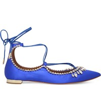 Aquazzura Christy Embellished Satin Flats Blue