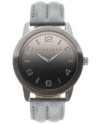 Sean John Men's Gray Leather Strap Watch 48Mm 10029428 Grey