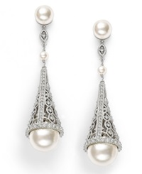 Eliot Danori Earrings Simulated Pearl And Pave Crystal Cone Drop Earrings
