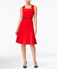 Calvin Klein Notched Belted A Line Dress Medium Red