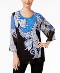 Jm Collection Petite Printed Chiffon Hem Top Only At Macy's Summer Paisley