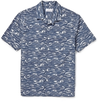 Hentsch Man Printed Cotton Shirt Blue