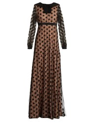 N 21 Star Embroidered Tulle And Lace Maxi Dress Black Nude