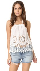 Minkpink Splendor Falls Lacey Cutout Top White