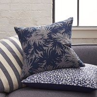 Cb2 The Hill Side Palm Leaves 18'' Pillow With Feather Down Insert