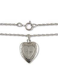 Lord And Taylor 14K White Gold Heart Necklace With Diamond Accent Silver