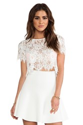 Alexis Exclusive Lisette Capped Sleeve Lace Crop Top Ivory