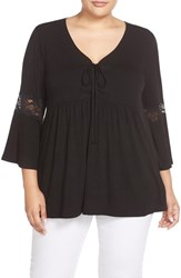 Bobeau Plus Size Women's Lace Inset Bell Sleeve Jersey Top Black