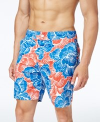 Tommy Hilfiger Men's Surfside Floral Print Board Shorts Snow White