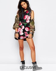 Motel Kimmy Mini Body Conscious Skirt In Vintage Floral Print Kimmy