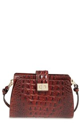 Brahmin 'Alena' Croc Embossed Leather Crossbody Bag Brown Pecan