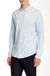 Sandro Long Sleeve Flower Shirt Blue