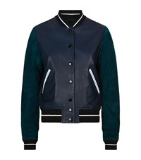 Rag And Bone Rag And Bone Alix Leather Varsity Jacket Female Navy
