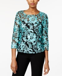 Alex Evenings Three Quarter Sleeve Soutache Blouse Aqua Black