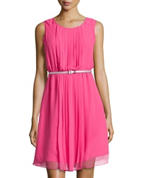 Sharagano Pleated Sleeveless Belted Dress Gleaming Pink