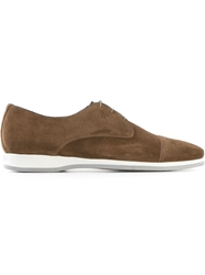 Canali Rubber Sole Derby Shoes Brown