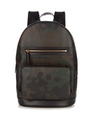 Burberry Camouflage Print Canvas Backpack Brown Multi